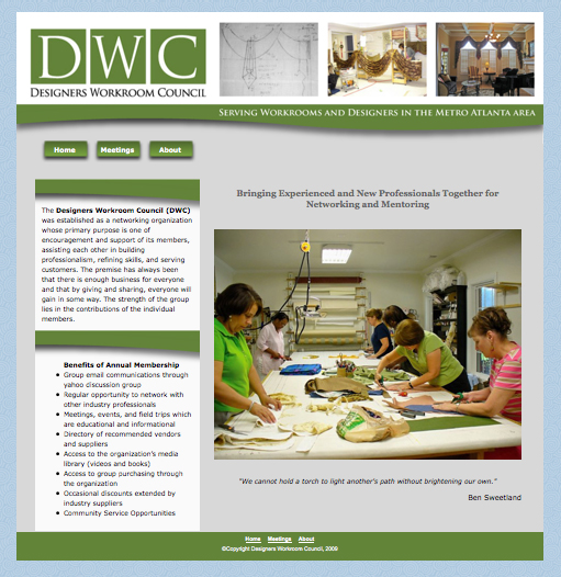 Screen shot of designers workroom council home page