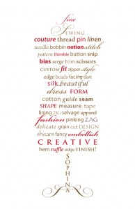 dress form word art with sewing terms