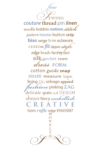 Dress Form Word Art - greeting cards and prints